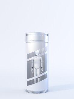 Roboter in Behälter,3D Rendering, digital generiert, Roboter, Maschine, menschenähnlich, künstliche Intelligenz, Technologie, Technik, Kommunikation, alleine, Konzept, Smybol, Zeichen, starr, eingesperrt, Vision, Zukunft, Digitalisierung, Vertical, gleich, gefangen, stoisch - AHUF00548