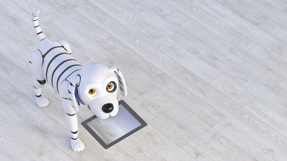 Portrait of robot dog holding tablet in his snout, 3d rendering - AHUF00557