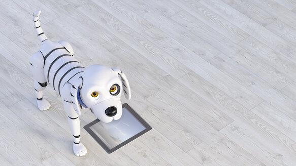 Roboterhund mit tablet, 3D Rendering, digital generiert, Roboter, Roboterhund, Hund, Tier, Technologie, Innovation, Tablet, bringen, anschauen, Zukunft, Vision, Helfer, glücklich, zufrieden, Freude, Humor, Haustier, Freund, Tierportrait,  Digitalisierung, Textfreiraum, Innenaufnahme, Horizontal, Kamerablick, Holzboden - AHUF00557