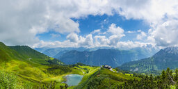 Germany, Bavaria, Allgaeu Alps, Panoramic view from Fellhorn to Schlappoldsee and Mountain Station of Fellhornbahn, Stillach Valley - WGF01297