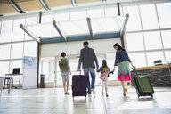 Family with suitcases leaving airport - HEROF08014