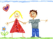Children's drawing of happy couple - CMF00876