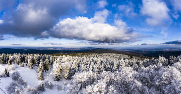 Germany, Hesse, Taunus, Aerial view of road through coniferous forest in winter - AMF06733