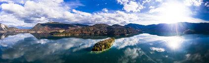 Germany, Upper Bavaria, Lake Walchen, Aerial view of Sassau Island - AMF06751