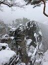 Germany, Saxony, Saxon Switzerland, Bastei area in winter - JTF01172
