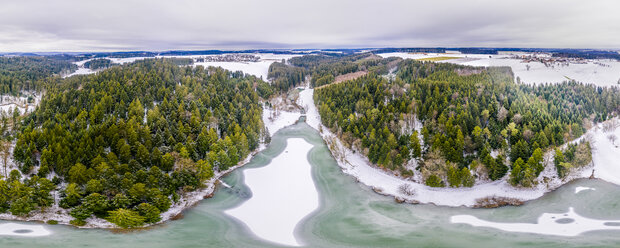 Germany, Baden-Wuerttemberg, Ostalbkreis, Swabian forest, Aerial view of forest and Eisenbach reservoir in winter - STSF01836