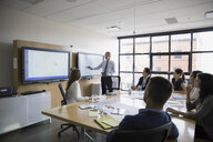 Businessman leading meeting at monitor in conference room - HEROF09757