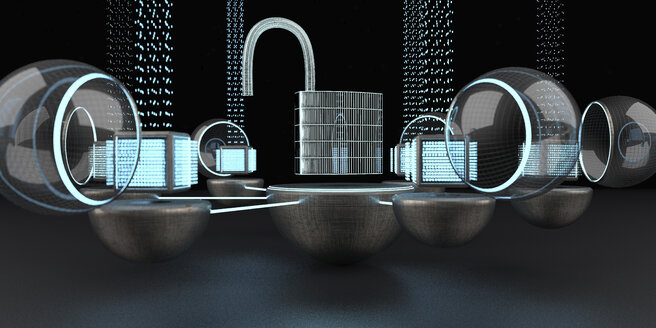 The data is unsecured and open, 3D Illustration - ALF00741
