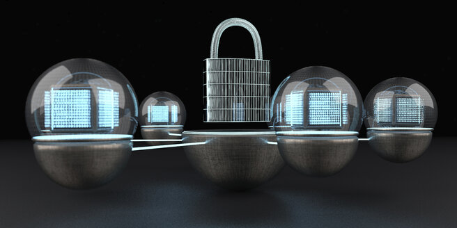 The data is protected and locked, 3D Illustration - ALF00744