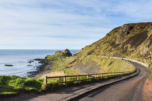 Road leading to the Unesco world heritage sight, Giants causeway, Northern Ireland, United Kingdom - RUNF01035