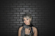 Portrait of stylish woman with short hair - HEROF09875