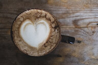 High angle close up of cappuccino topped with foam heart. - MINF10333