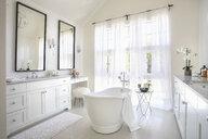 White home showcase interior bathroom with soaking tub - HEROF10166
