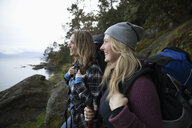 Happy mother and daughter backpacking - HEROF10413