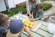 Mother and sons preparing lemons for lemonade on patio - HEROF10581