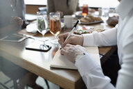 Close up businessman writing in journal at lunch - HEROF10711