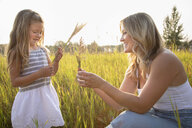 Mother and daughter holding wheat stalks in sunny, rural field - HEROF10768