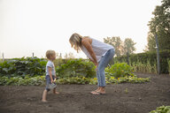 Mother and son with shovel in rural vegetable garden - HEROF10780
