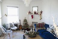 Apartment living room decorated for Christmas - HEROF11272