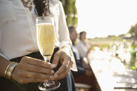Close up woman drinking champagne at sunny garden party - HEROF11347