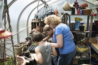 Grandmother and grandsons planting seedlings in greenhouse - HEROF11734