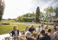Friends eating and drinking at sunny, rural garden party lunch - HEROF11785