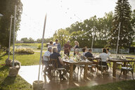 Friends drinking and talking at sunny, rural garden party - HEROF11794
