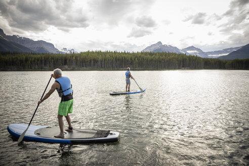 Mature men enjoying standing paddleboarding on lake, Alberta, Canada - HEROF11980