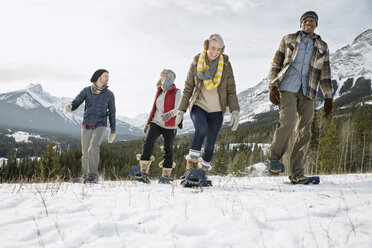 Friends snowshoeing below snowy mountains - HEROF12154