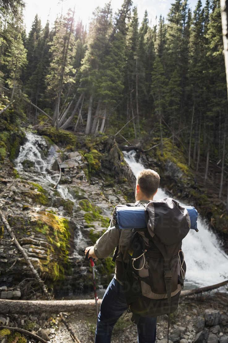 Man hiking with backpack enjoying waterfall view in woods - HEROF12364 - Hero Images/Westend61