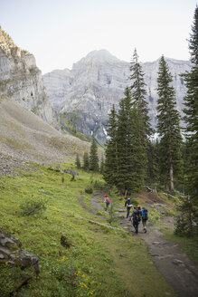 Friends hiking on trail below mountains in remote woods - HEROF12376