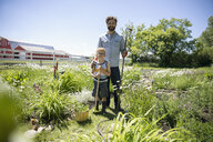 Portrait smiling father and son gardening on sunny rural farm - HEROF12661