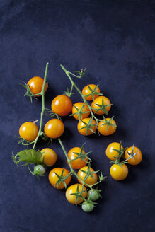 Cherry tomatoes 'Golden Nugget' on dark ground - CSF29227