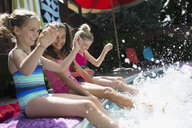 Playful girls at poolside splashing feet in water - HEROF13976
