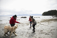 Family with dog playing on rugged beach - HEROF14294