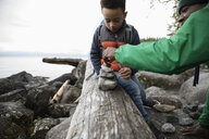 Father and son stacking rocks on fallen log on rugged beach - HEROF14312