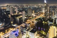 Thailand, Bangkok, aerial view of the city with Chao Phraya river at night - WPEF01357