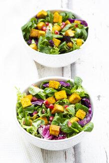 Tofu-Salat (gemischter grüner Salat mit Rotkohl, Granatapfelkernen und in Kurkuma geröstetem Tofu) - LVF07739