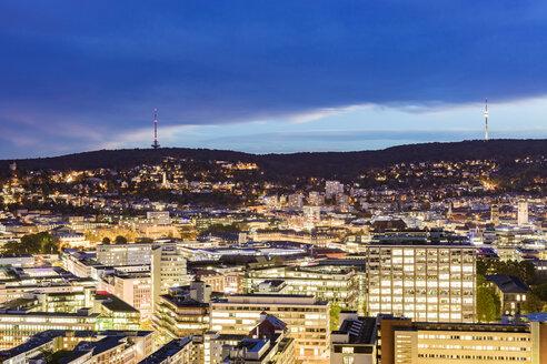 Germany, Stuttgart, cityscape at twilight - WDF05069
