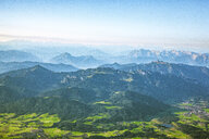 Germany, Bavaria, Chiemgau, Prien, Aerial view of Alps, Kampenwand in the foreground, Kaiser Mountains in the background - MMAF00796