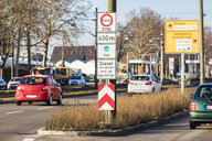 Germany, Fellbach, low-emission zone sign for Stuttgart, driving ban for diesel cars - WDF05072