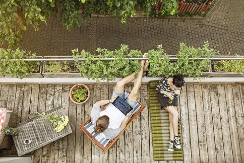 Deutschland, NRW, Frechen, Homestory, Eigenheim, Eigentum, Wohnung, Home, Balkon, Entspannen, Tablet - PESF01097