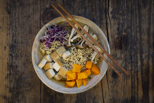 Miso Ramen soup with noodles, red radish sprouts, pumpkin, fried tofu, shimeji and king trumpet mushroom - LVF07753
