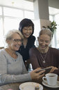 Smiling active senior women friends using smart phone and drinking coffee in cafe - HEROF17062