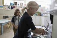 Preschool girl washing hands at sink in classroom - HEROF17212