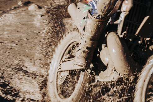 Close-up motocross wheel with water and mud - OCMF00263