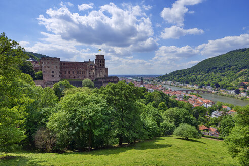 View of Heidelberg castle, Old Bridge (Alte Brücke) and River Neckar. Heidelberg, River Neckar, Baden-Württemberg, Germany. - RUEF02087