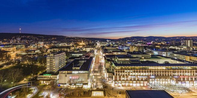 Germany, Stuttgart, shopping mile Koenigstrasse at blue hour - WDF05078