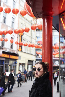 Chinese outfit girl portrait in china town. London, UK. - IGGF00767