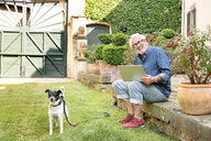 Portrait of laughing senior man with dog in garden using tablet - PESF01293